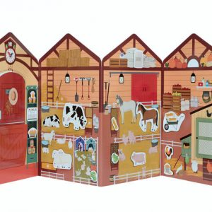 casa granja de cartón interior