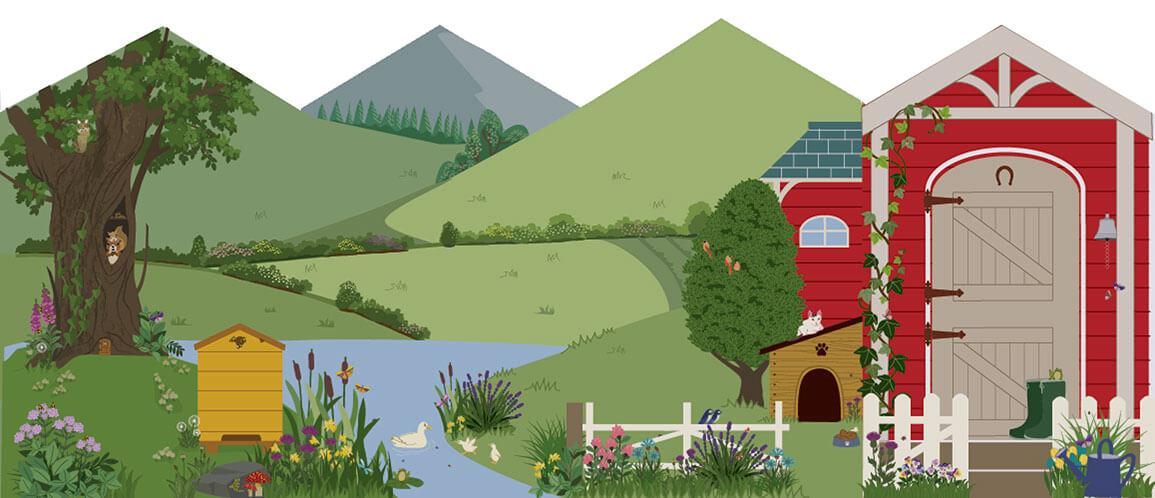 Cardboar farm playhouse